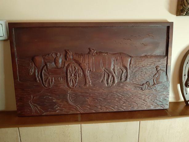 Płaskorzeźba Konie 70 cm x 40 cm Buk