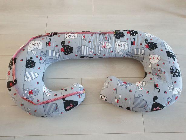 Poduszka ciążowa bawełniana typu C koty na szarym tle SuperMami