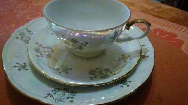 Чашка с блюдцем и подставная тарелка ГДР