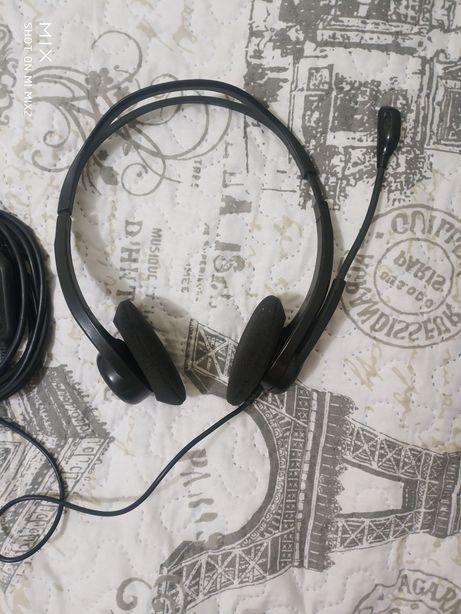 Гарнитура Наушники Logitech PC Headset USB рабочие новый амброшур