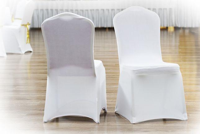 WYPRZEDAŻ!!! Białe pokrowce elastyczne na krzesła - SUPER OFERTA!!!