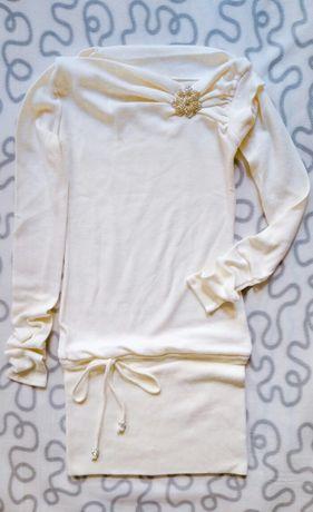Нарядное платье цвета айвори S