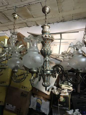 Antigo  candeeiro centro porcelana e 5 globos