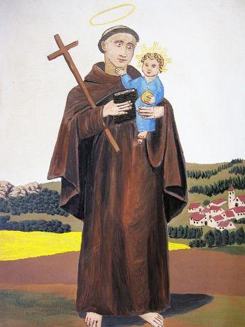 Santo António com o menino Jesus-Pintura em guache sobre tela