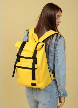 Шикарный желтый рюкзак школьный, ранец, экокожа