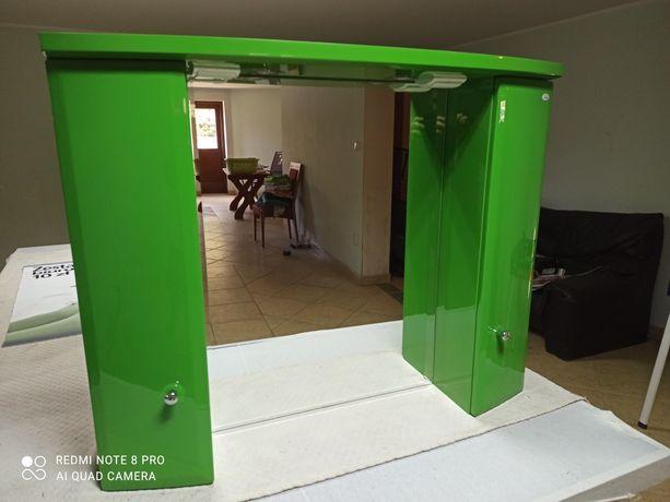 Lustro z szafkami i oświetleniem FILA zielone lakier WYPRZEDAŻ
