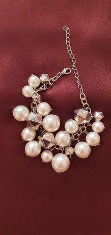 Zara. Nowa bransoletka duże perły kolor srebro.W stylu Chanel