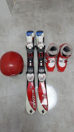 Narty 80 cm, buty, kask- zestaw małego narciarza