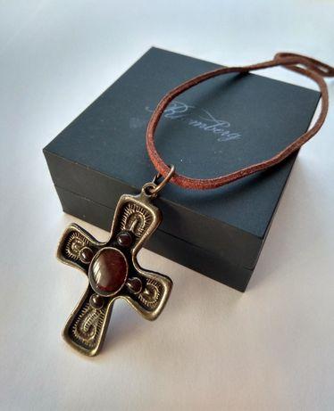Винтажный кулон подвеска Крест Англия, эмаль бронза