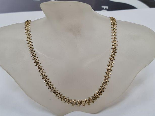 Piękny złoty łańcuszek damski/ kolia/ 585/ 17.4 gram/ 44cm/ Pełny