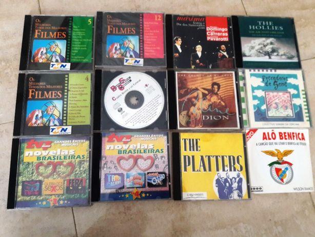 Lote de 12 cd de músicas de filmes, novelas, Celine Dion, Benfica, etc