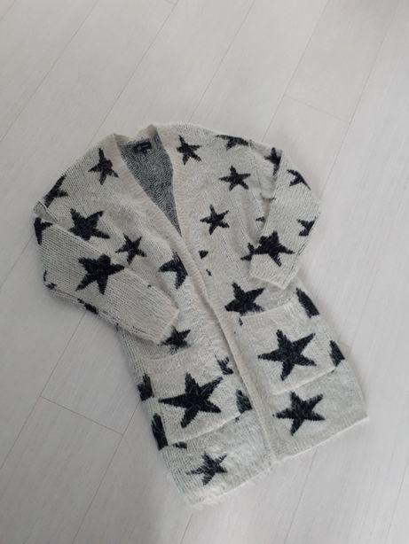 Reserved sweter kardigan oversize gwiazdki rozm.S
