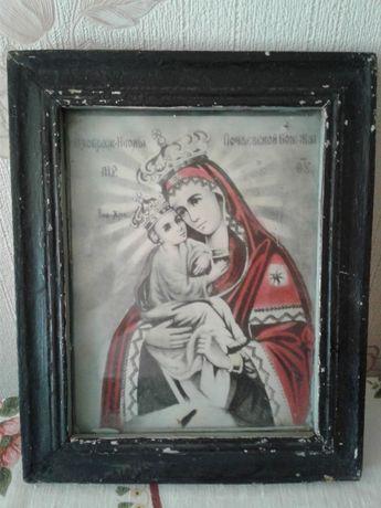Почаевская икона Божией Матери, литография старинная под стеклом, СССР