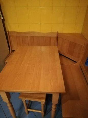 narożnik kuchenny 127/137 + stół 80/60 + taborety drewniany