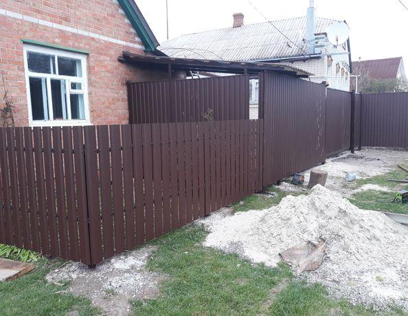 Забор профлист ворота откатные калитка навес