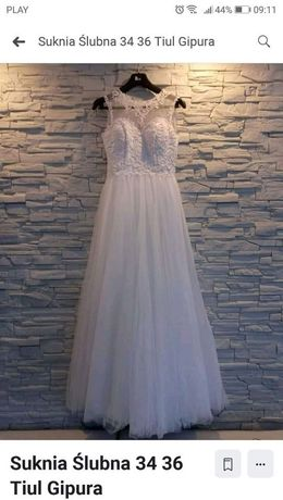 Suknia ślubna 34 36 Tiul Gripula
