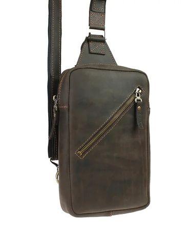 Кожаная мужская сумка слинг бананка ручная работа натуральная кожа