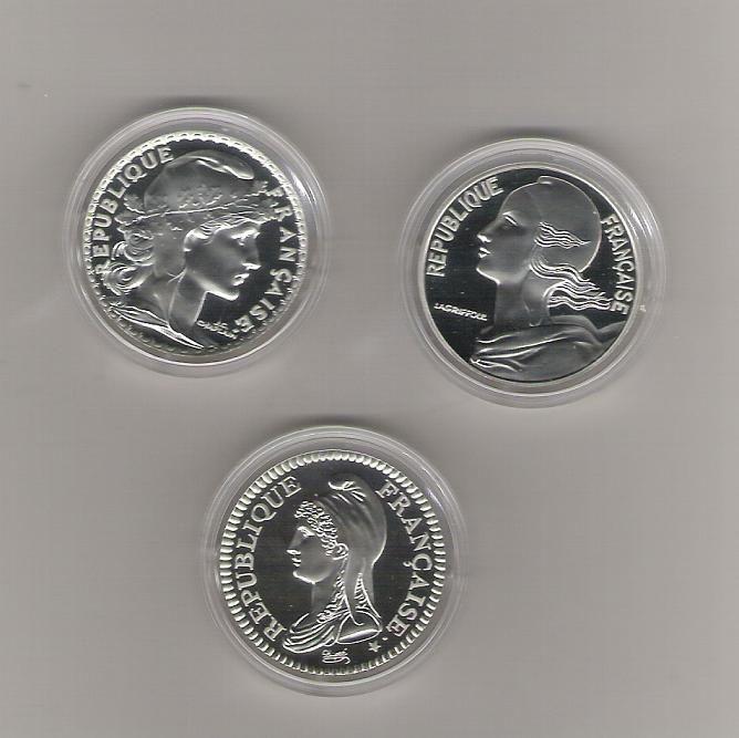 França 3 moedas de 10 Francos prata Proof Santarém - imagem 1