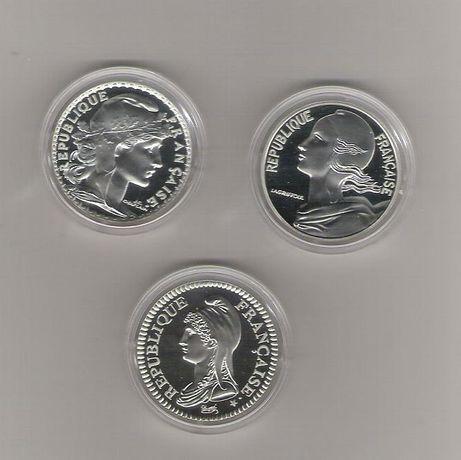 França 3 moedas de 10 Francos prata Proof