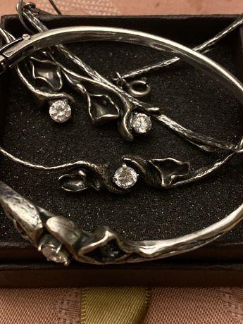 Srebrny zestaw kruk naszyjnik bransoletka i kolczyki duży syg 925