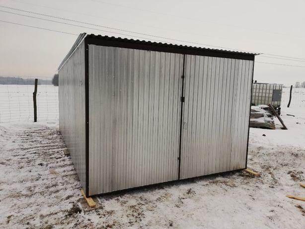 Garaż blaszany 3x5, spad w tył, blacha ocynk, brama dwuskrzydłowa