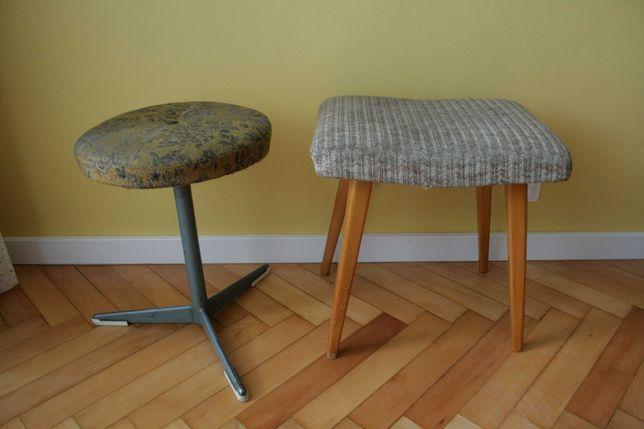 Taboret PRL obrotowy metalowy drewniany vintage retro podnóżek