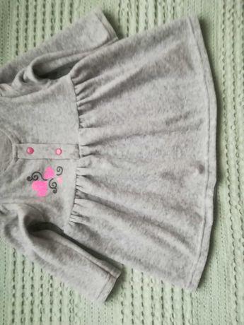 Szara, welurowa sukienka dla niemowlaka rozmiar 74