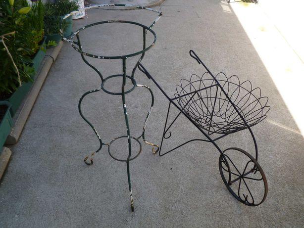 Carrinho e suporte para vasos jardim em metal