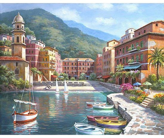 """Namaluj obraz sam - """" łódki przystań góry """" malowanie po numerach"""