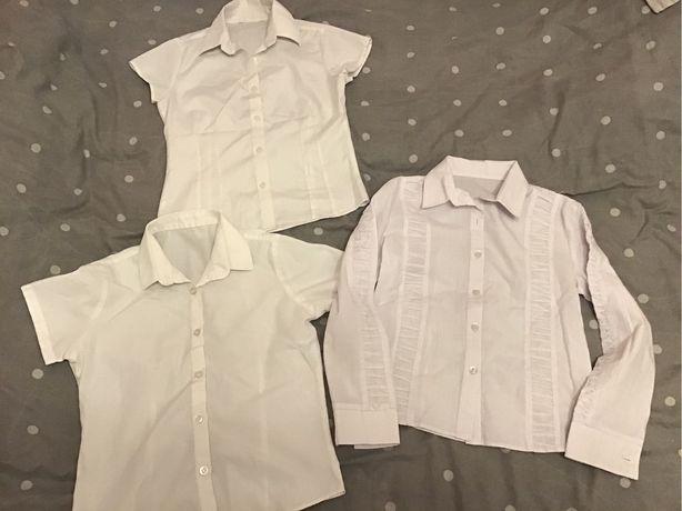 Bluzki białe eleganckie długi krótki rękaw zestaw cena za 3 sztuki