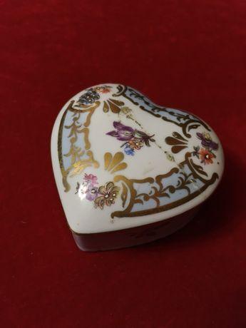 Винтажная фарфоровая шкатулка сердце антикварная