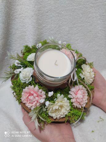 Stroik ze świecą zapachową,dekoracja świecznik
