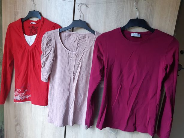 Wysyłka 5zł,  Nowe i używane 6 sztuk bluzki z długim rękawem r. S/M