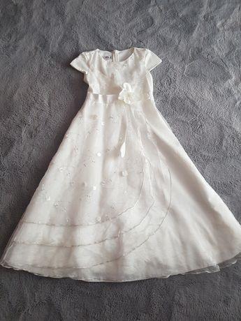 Sukienka komunijna alba rozm 140- jak nowa + opaska gratis
