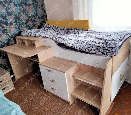 Новинка! Кровать-чердак Спейс, детская кровать со столом
