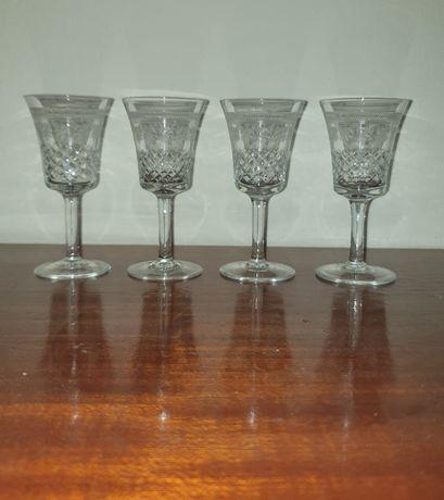 4 copos cristal antigos Legumes decoração cenoura alhos tomate pepino