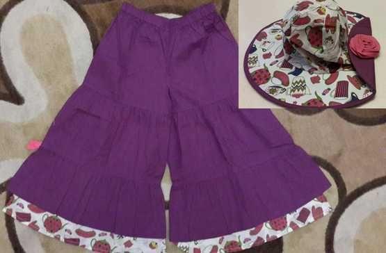 Супер модная юбка-брюки Lola et moi, шляпа в подарок! р.4-5 лет