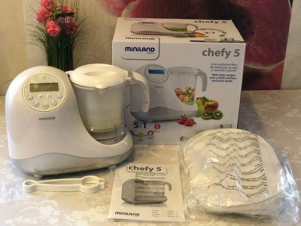 Детский кухонный комбайн Пароварка блендер 5 в 1 Chefy 5 Miniland Baby