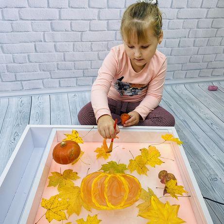 Столик для ігор занять дитячий мольберт розвиваючий світловий планшет