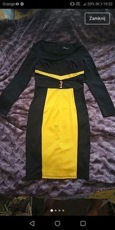 Sukienka musztardowo czarna L