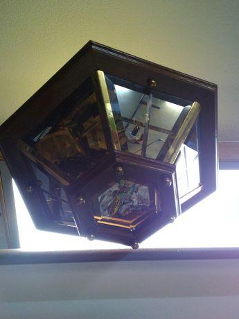 Vendo candeeiros de teto em Madeira e vidro lapidado como espelho