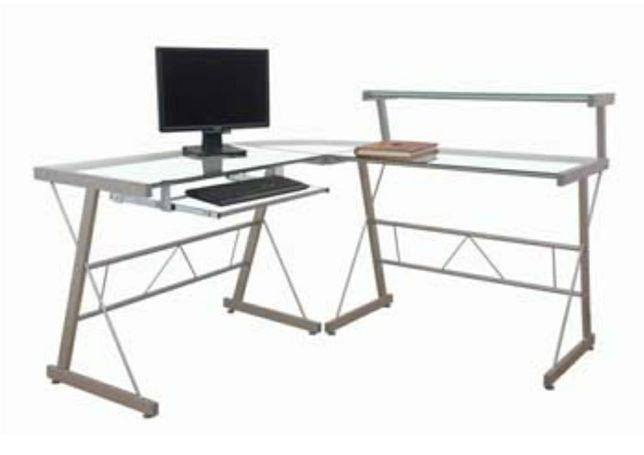 Mesa de secretaria em vidro e metal