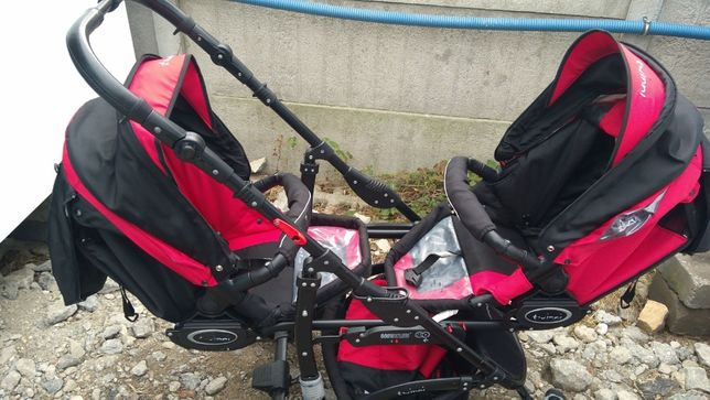 Wózek bliźniaczy, rok po roku+ foteliki + gondola + pojedynczy komplet