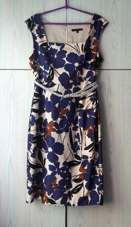 Elegancka sukienka kwiaty wesele komunia biurowa Coast vintage retro