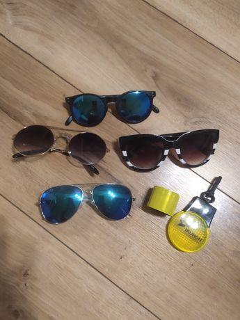 4 pary okularów przeciwsłonecznych i odblaski