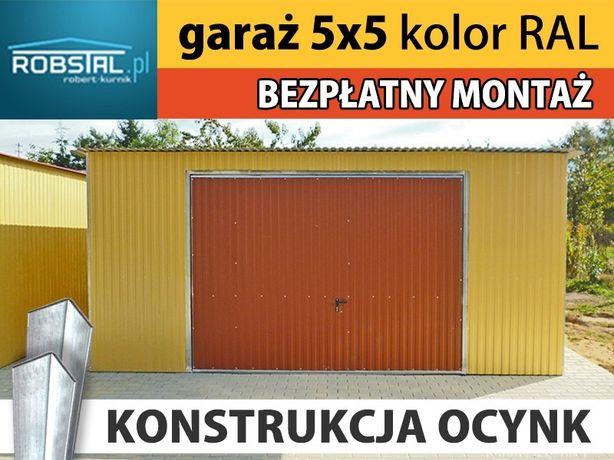 Garaż blaszany 5x5m konstrukcja ocynkowana kolor ral blaszak producent