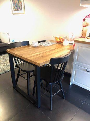 Stół drewniany dębowy 120x80x3 rozkładany loft metalowe nogi salon