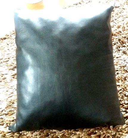 3poduszki, ekoskóra, kolor czarny