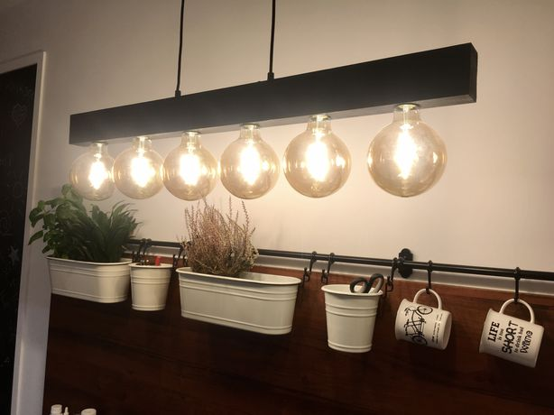 Lampa industrialna drewniana czarna belka - 6 żarówek w komplecie