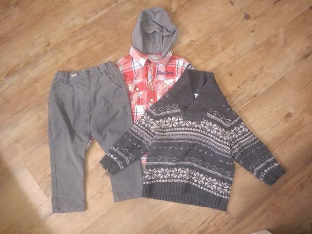 spodnie w kratkę + koszula w kratkę + sweter wzór norweski